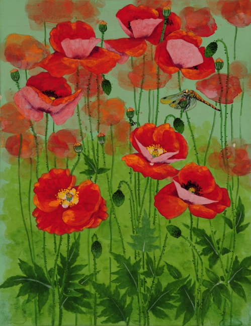 Opium Poppy. Painting by Korean artist Sookja Rho