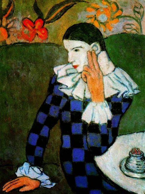 Death behind Harlequin mask. Pablo Picasso. Thoughtful Harlequin 1901