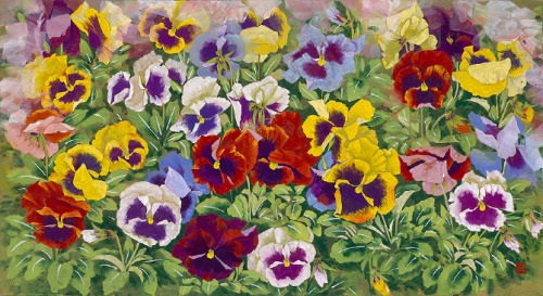 Pansy. Painting by Korean artist Sookja Rho