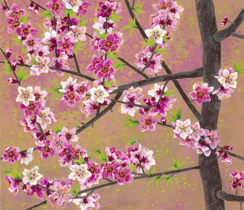Peach Blossom. Painting by Korean artist Sookja Rho