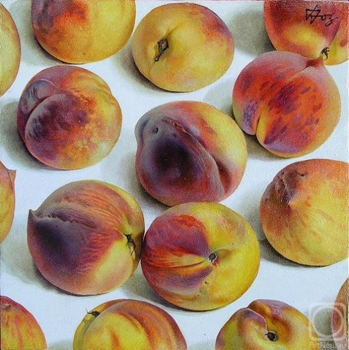 Peaches. Hyperrealistic painting by Russian artist Pyotr Kozlov