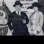 Photos 1917. Picasso and Olga Khokhlova on the background of posters of ballet Parade