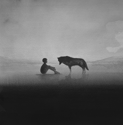 Relationship between children and animals. Black and white watercolors by Elicia Edijanto