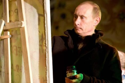 Who owns the only painting of Vladimir Putin. Russian President Vladimir Putin painting 'Pattern on frosty window'