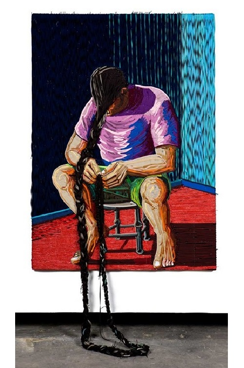 Shoelace Painting by Colombian artist Federico Uribe
