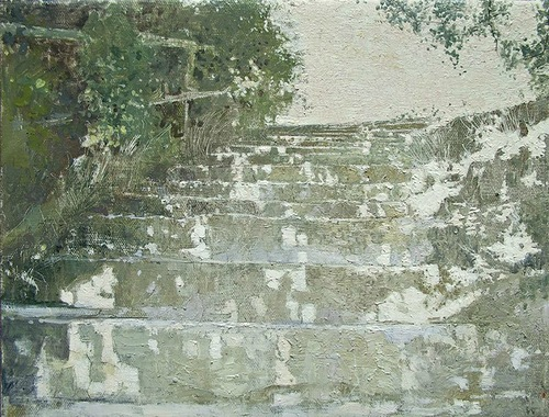Stairs. Hyperrealistic oil paintings by Pyotr Kozlov