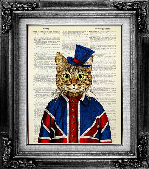 Tabby Cat with Union Jack Flag Suit. Cat art on Vintage Dictionary pages