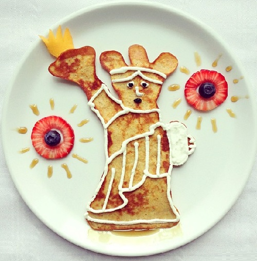 The Statue of Liberty in New York. Art Toast by food artist Ida Skivenes