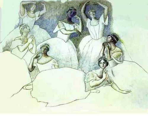 The group of dancers. Olga Khokhlova lies in the foreground. 1919-1920