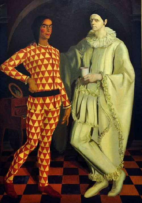 Vasily Shukhayev, Alexander Yakovlev. 'Self-Portrait (Harlequin and Pierrot)'. 1914