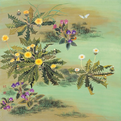 Viola Yedoensis Makino and Dandelion. Painting by Korean artist Sookja Rho