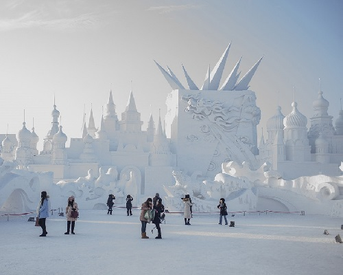 A huge architectural snow sculptures in Harbin