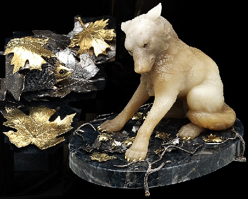 Wolf. Casket Ostrich. Gold, silver, obsidian, citrine, jade, gold plating. Anna Nova Jewelry house