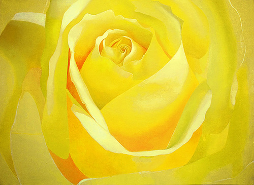 Yellow rose. Hyperrealistic painting by Russian artist Pyotr Kozlov
