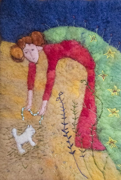 About the cat who looked. Wool painting by Svetlana Dmitrieva