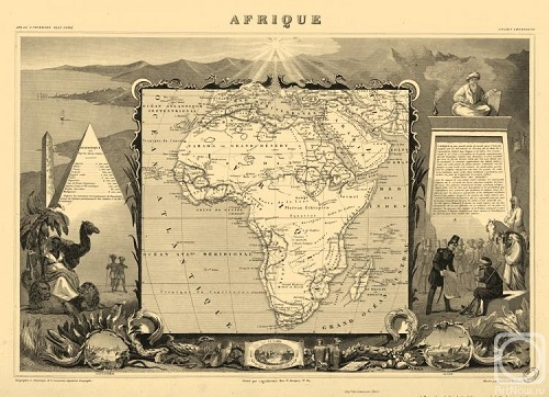 Africa. Engraving from the series 'Ancient map of the world'. Engraving on natural leather, on the work by Levasseur
