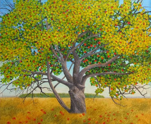 Apple tree. Naive painting by Olga Kvasha