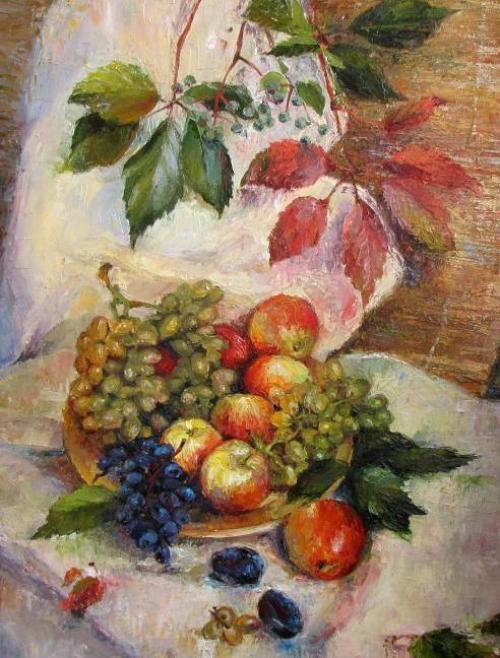 Apples and grapes still life