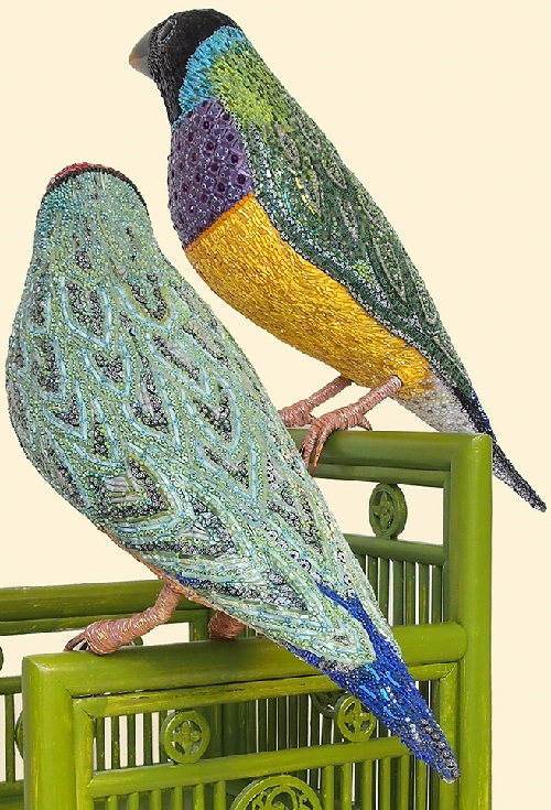 Birds. Mosaic Sculpture made of glass paste, gold mosaic, opalescent glass, murrine, iron, cement adhesive on resin structure