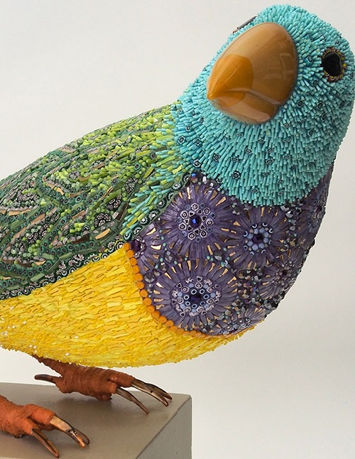 Mosaic Sculpture made of glass paste, gold mosaic, opalescent glass, murrine, iron, cement adhesive on resin structure