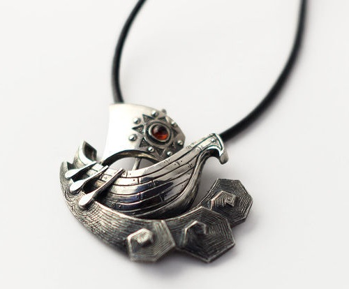 Boat. Silver pendant. Jewelry art by Anna Kiryanova and Ivan Chernykh