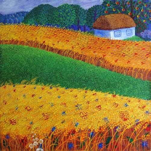 Bread. Naive painting by Olga Kvasha