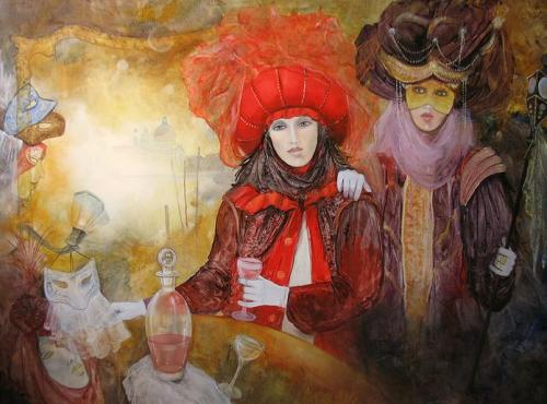 Venetian carnival paintings by Jean Claude Campana. Cascade Of Masks