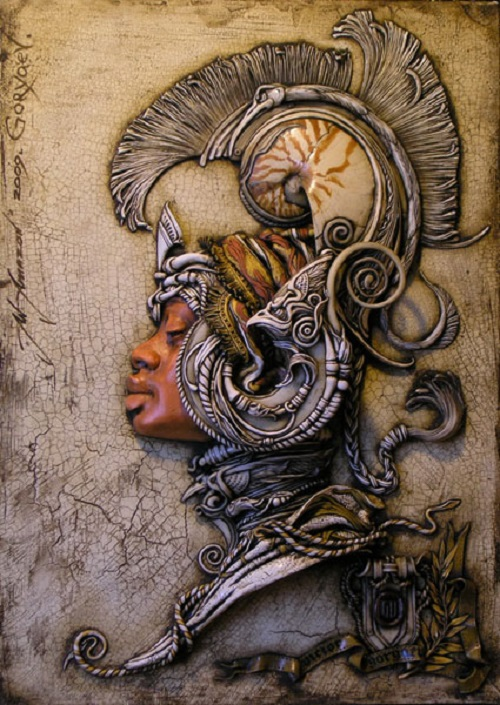 Ceramic panel in the genre of fantasy. Artist Viktor Goryaev