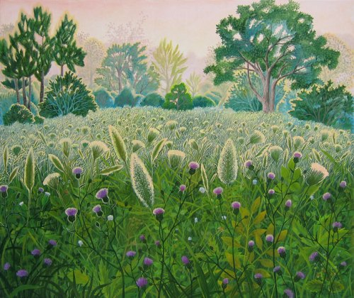 Dewy grass. Naive painting by Olga Kvasha