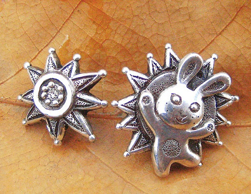 Earrings sunny rabbit. Jewelry art by Anna Kiryanova and Ivan Chernykh