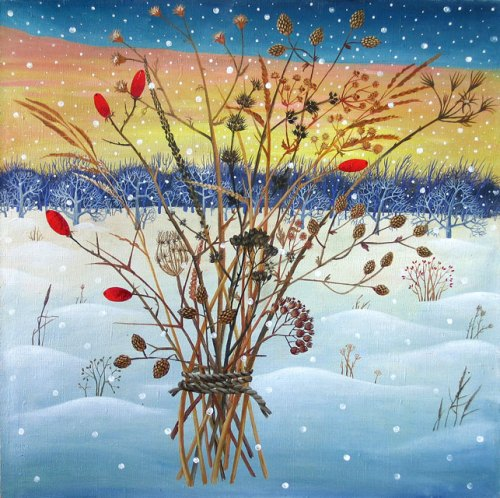 Flowers of winter steppe. Painting by Olga Kvasha