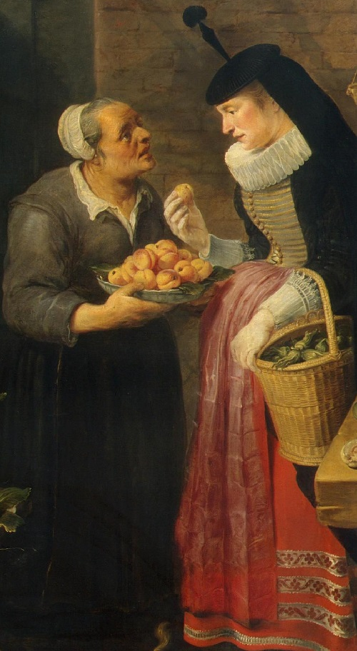 Fruit stall. Detail - Shopkeeper and the lady