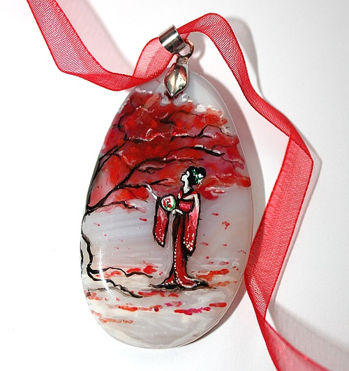 Geisha. Handmade pendant by Russian artist of applied art Dreams Of Stone