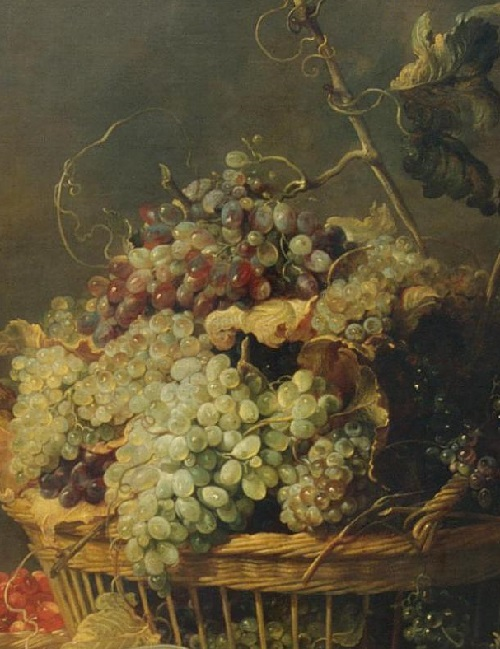 Renaissance still life code. Grapes