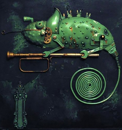 Green Chameleon. Steampunk sculpture by Lithuanian artist Arturas Tamasauskas