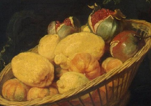 Renaissance still life code. Lemon and Pomegranate