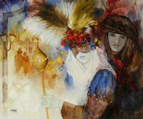Venetian carnival paintings by Jean Claude Campana. Mask With Feathers