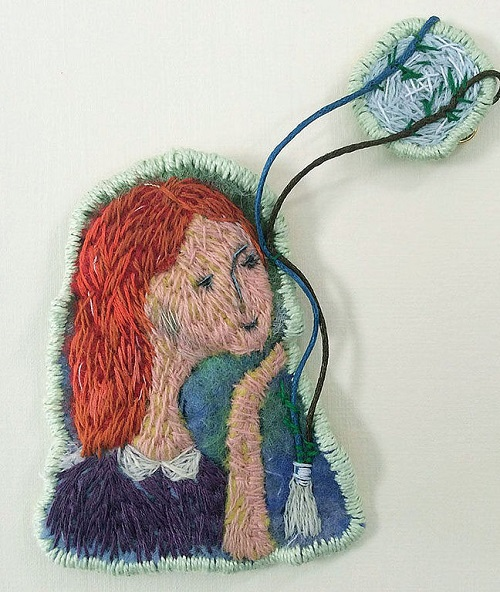 'Moon Shadow on the cheek of a girl in love'. Embroidered Brooch made of wool. Handmade art by Svetlana Dmitrieva