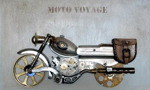 Motocycle. Steampunk sculpture by Lithuanian artist Arturas Tamasauskas