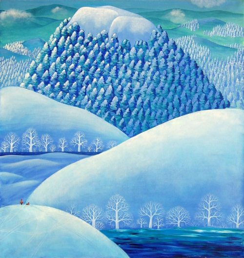 Mountains like white elephants. Painting by Olga Kvasha