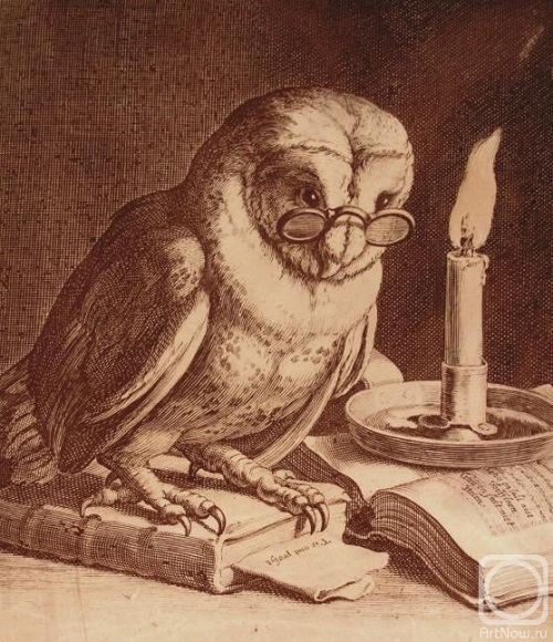 Owl in glasses. Engraving on natural leather, made through a unique technology of burning. Work performed on the engraving by Blumayer