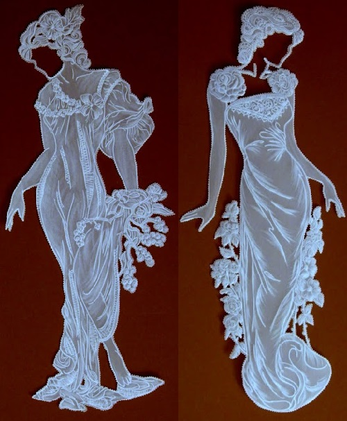 Beautiful lady. Parchment paper art