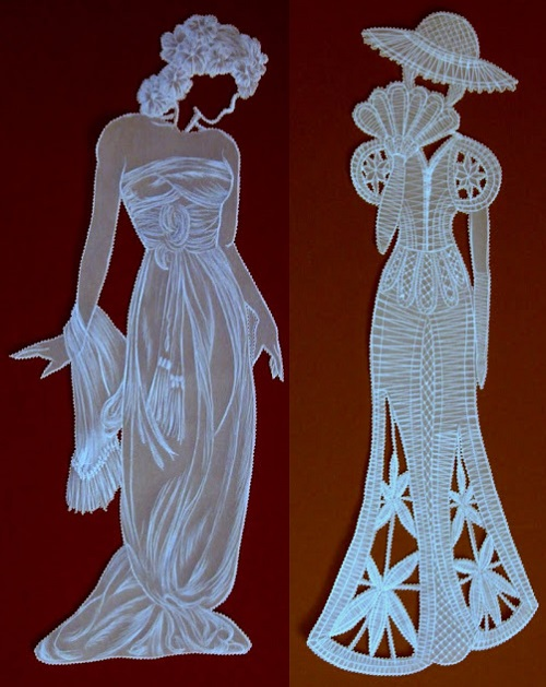 Parchment paper art ladies