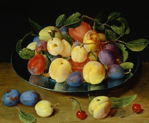 Peaches and plums. Jacob van Hulsdonck. Flemish still life painter. 1582–1647