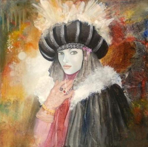 Venetian carnival paintings by Jean Claude Campana. Pearl