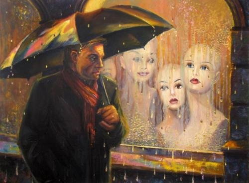 Painting by Russian artist Igor Rodionov. Rain of waiting