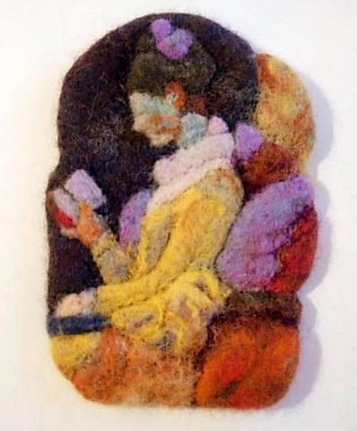 Reading lady. Miniature wool painting by Svetlana Dmitrieva