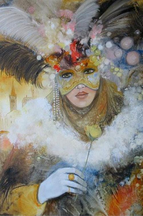 Venetian carnival paintings by Jean Claude Campana. Rose And Feathers