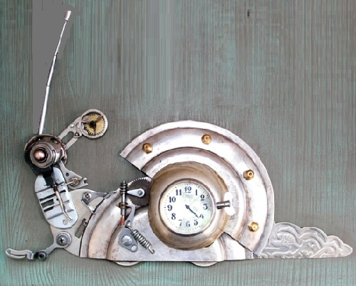 Snail, Steampunk sculpture by Lithuanian steampunk artist Arturas Tamasauskas