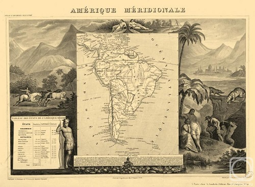 South America. Engraving from the series 'Ancient map of the world'. Engraving on natural leather, on the work by Levasseur